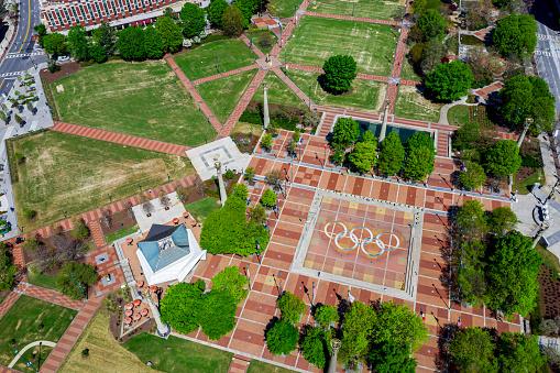 Centennial Olympic Park Empty Due to Coronavirus - Atlanta Georgia Aerial View