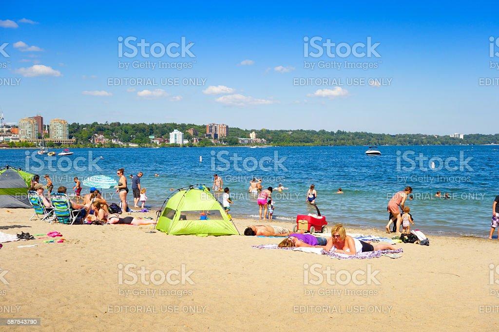 Centennial Park Beach in Downtown Barrie Ontario Canada stock photo