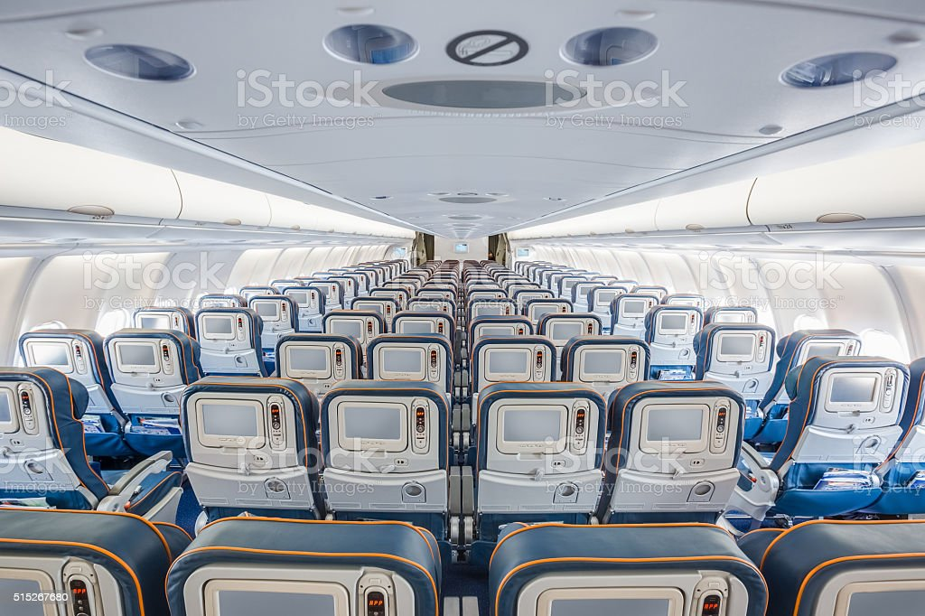 center back view of airplane interior stock photo