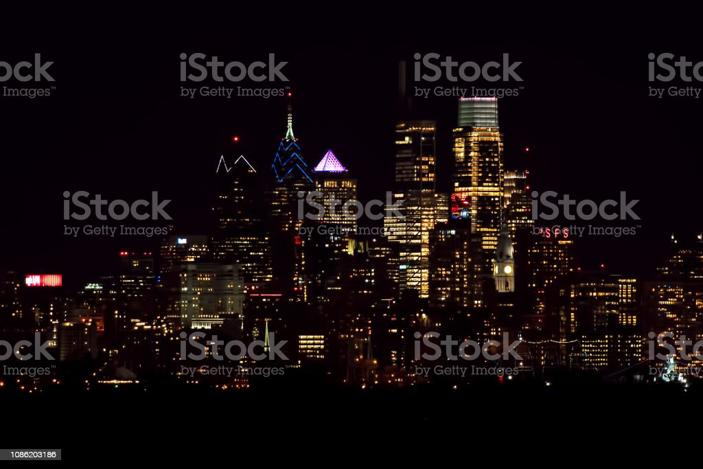 Center City Philadelphia Skyline at Night stock photo