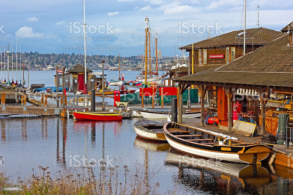 Center for Wooden Boats in Seattle, WA, USA stock photo