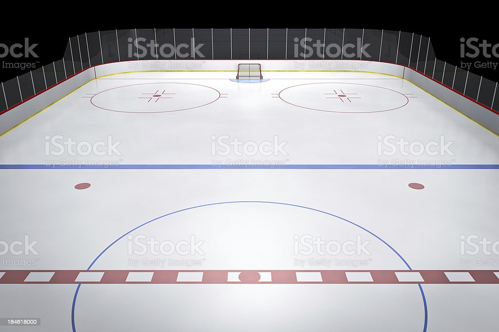 Hockey rink at center ice with a black background.