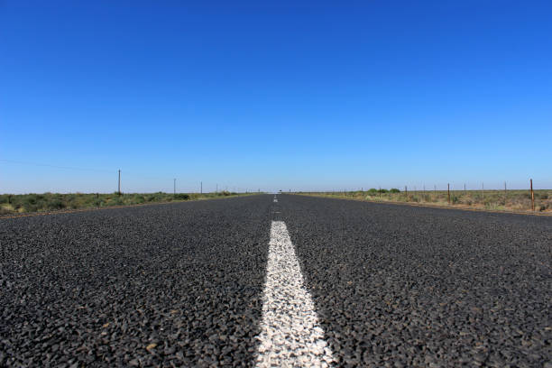 Center line of the R27, long flat country road, Northern Cape, South Africa stock photo