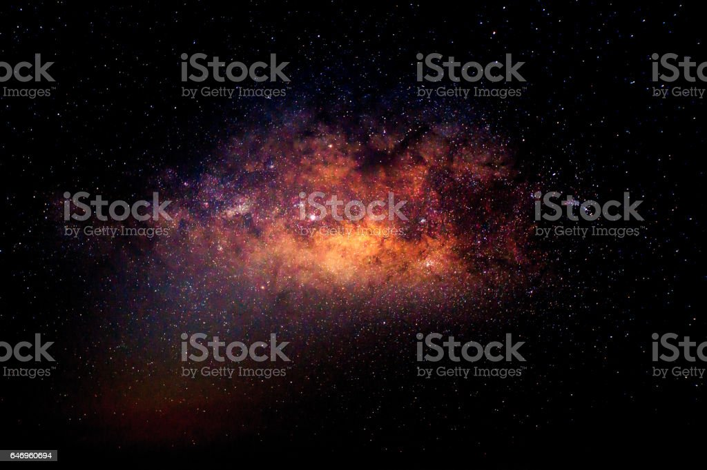 Center Milky way galaxy with stars and space dust in the universe stock photo
