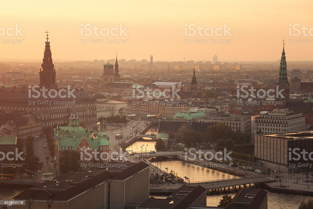 Center of Copenhagen at sunset light (Copenhagen, Denmark) stock photo