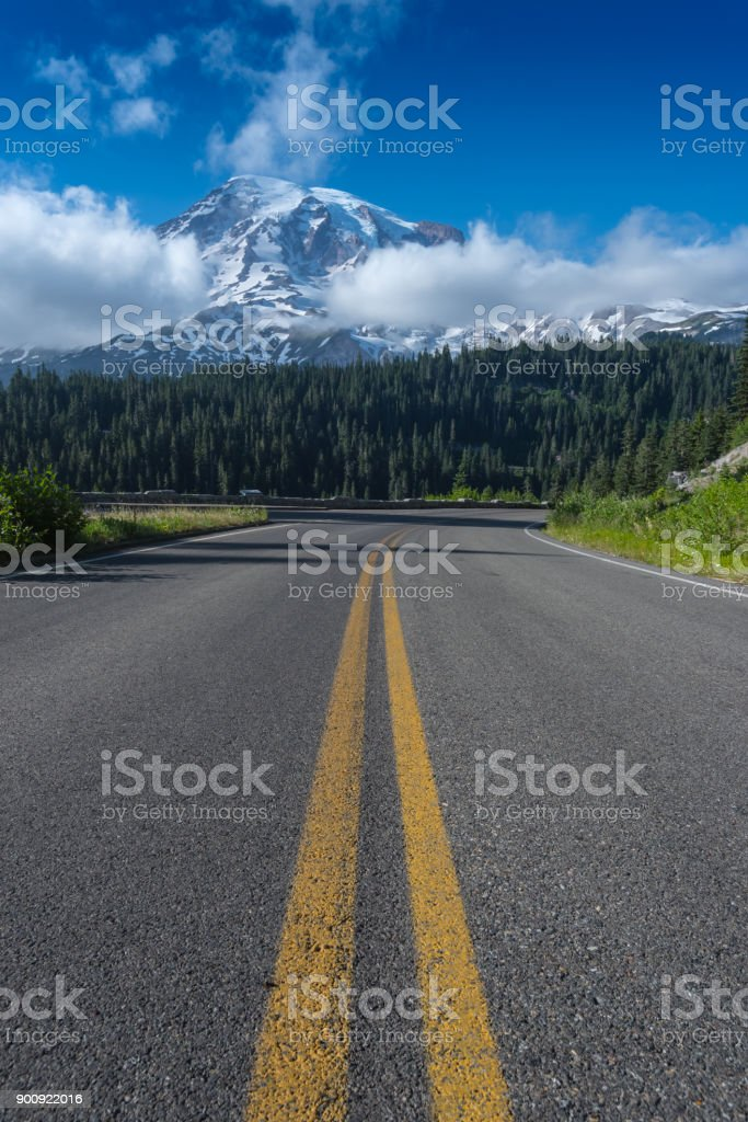 Center of Road and Mount Rainier stock photo
