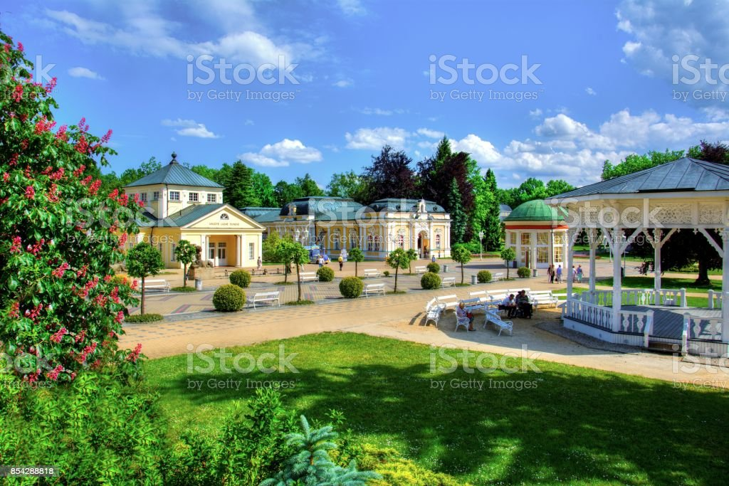 Center of town resort Frantiskovy Lazne (Franzensbad) stock photo