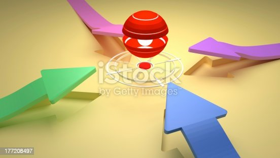 istock TARGET - Center Point with Four Direction Colorful Arrows 177208497