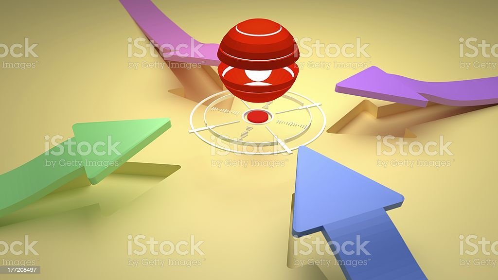 TARGET - Center Point with Four Direction Colorful Arrows stock photo
