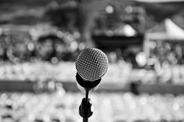 Center Stage Lead Mic, Centerstage at the 2015 Country Jam Music Festival in Grand Junction, Colorado country and western music stock pictures, royalty-free photos & images