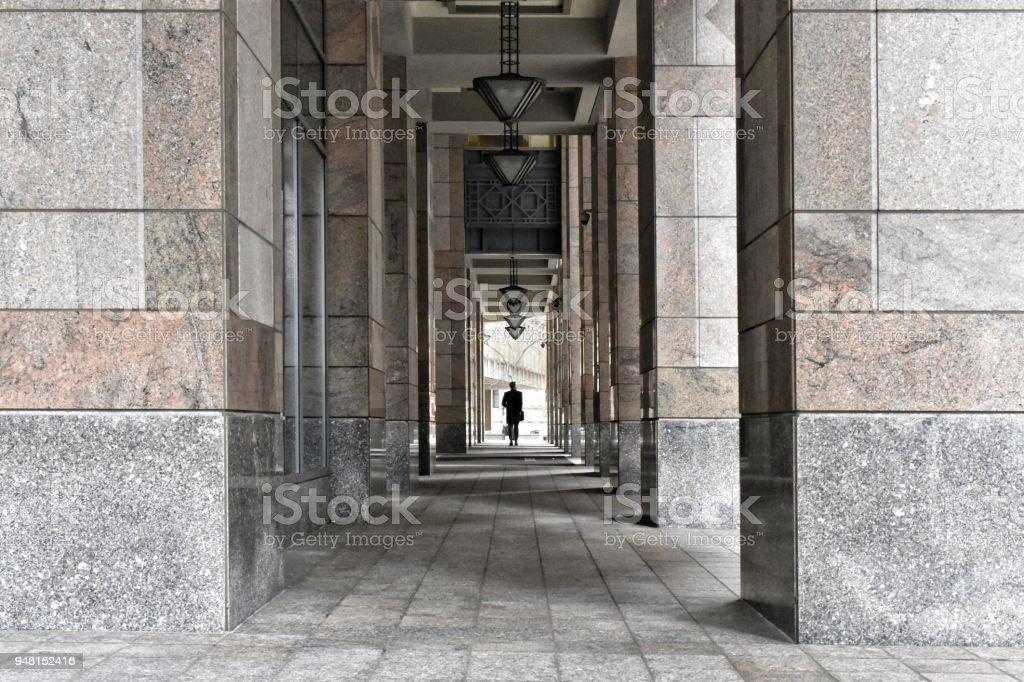 Centered Figure, Columns stock photo