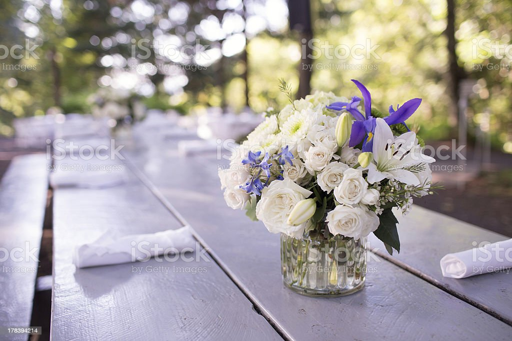 Centerpiece at a Wedding Reception stock photo