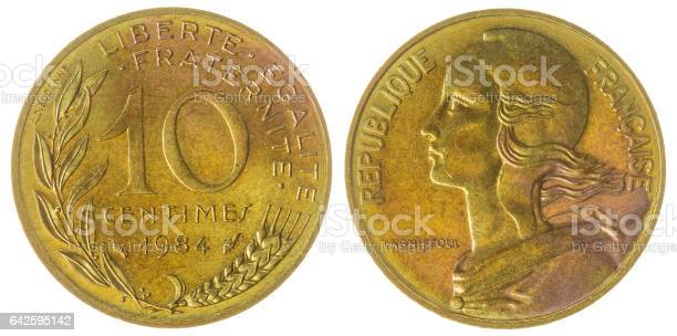 10 centimes 1984 coin isolated on white background, France