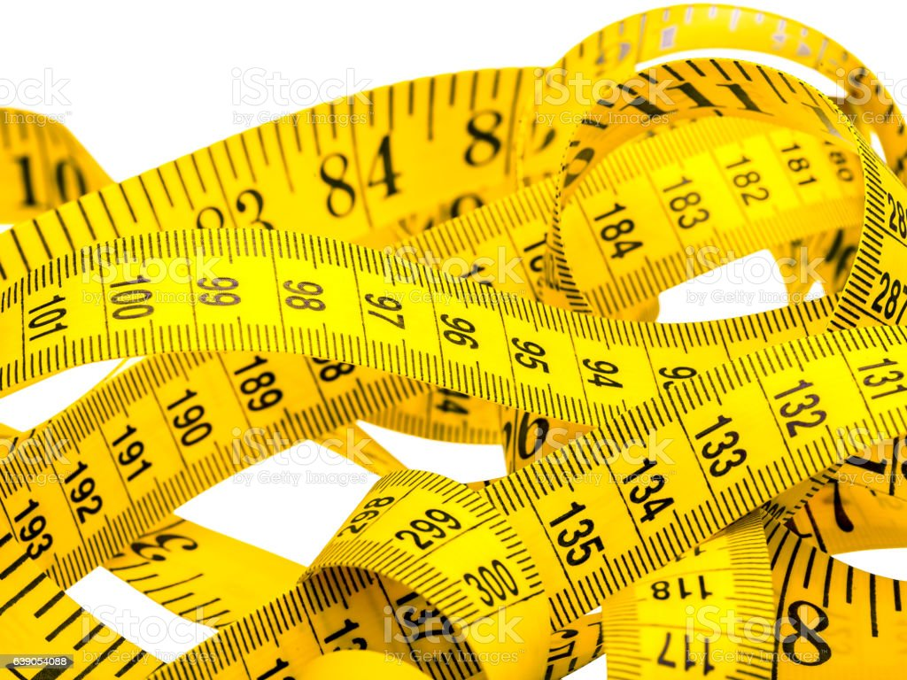 Centimeter of yellow color. stock photo