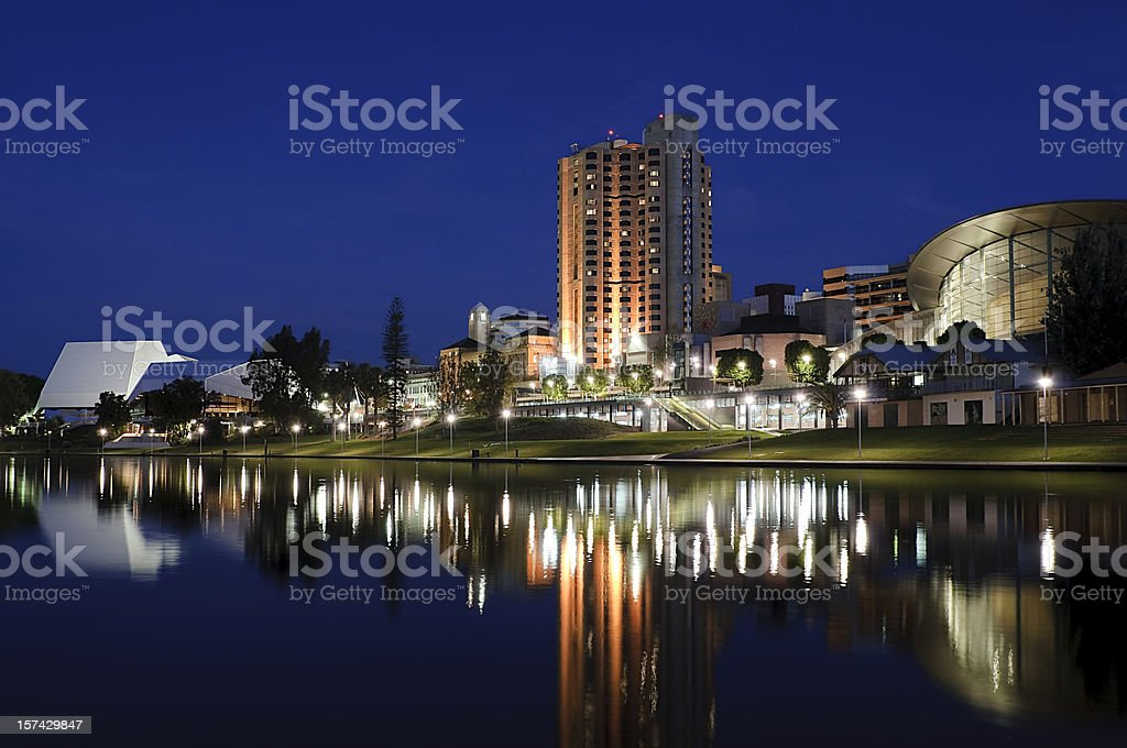 Central Adelaide at Night stock photo