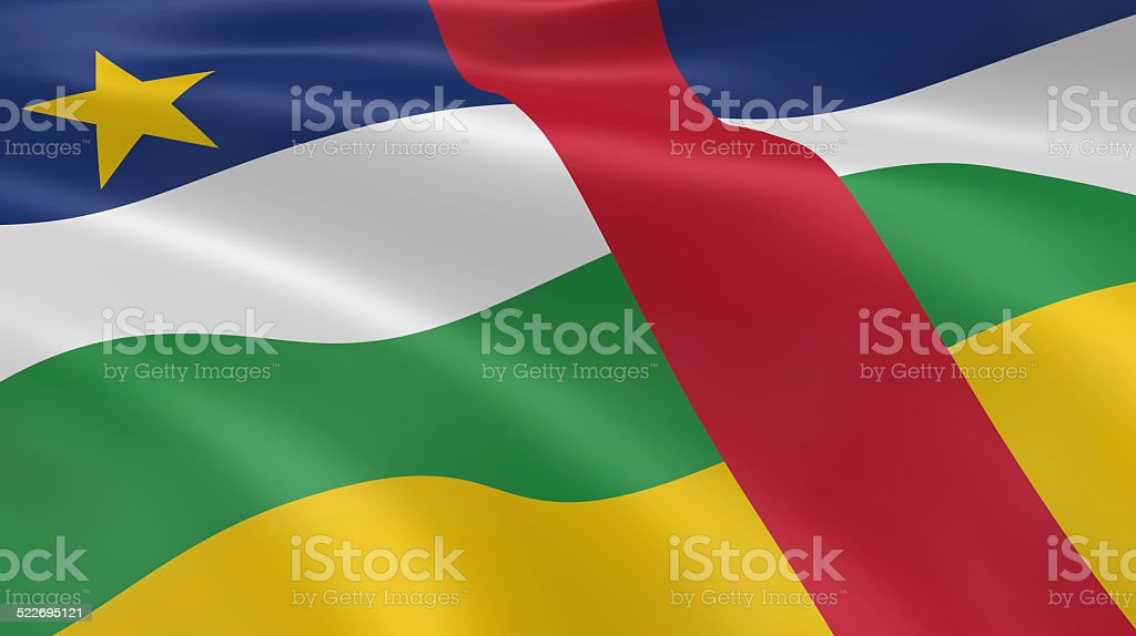 Central African flag in the wind stock photo