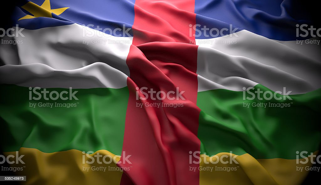 Central African Republic, Bangui national official state flag stock photo