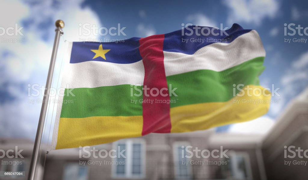 Central African Republic Flag 3D Rendering on Blue Sky Building Background stock photo