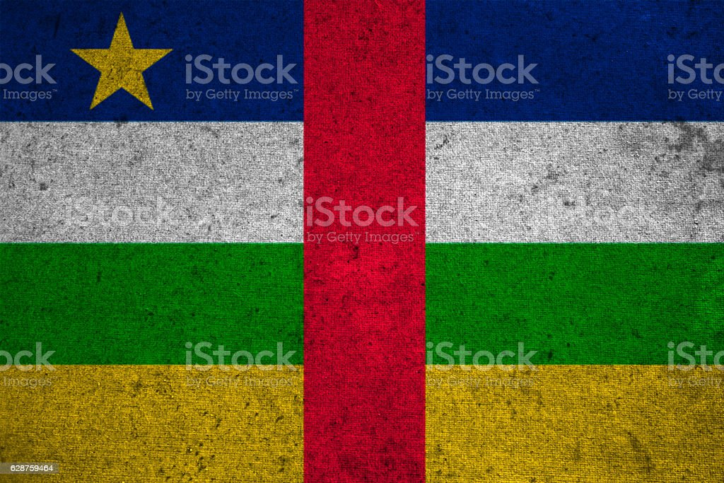 Central African Republic flag on an old grunge background stock photo