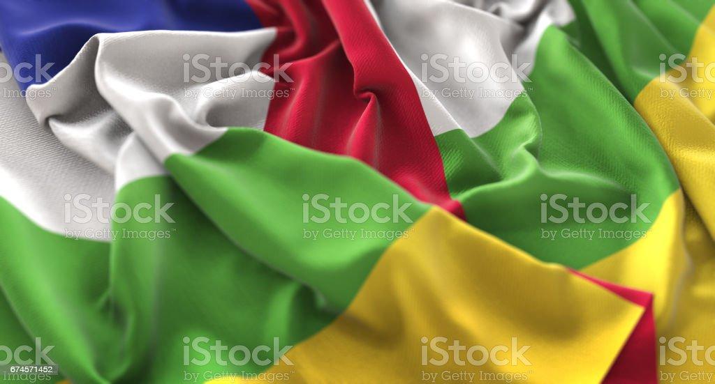 Central African Republic Flag Ruffled Beautifully Waving Macro Close-Up Shot stock photo