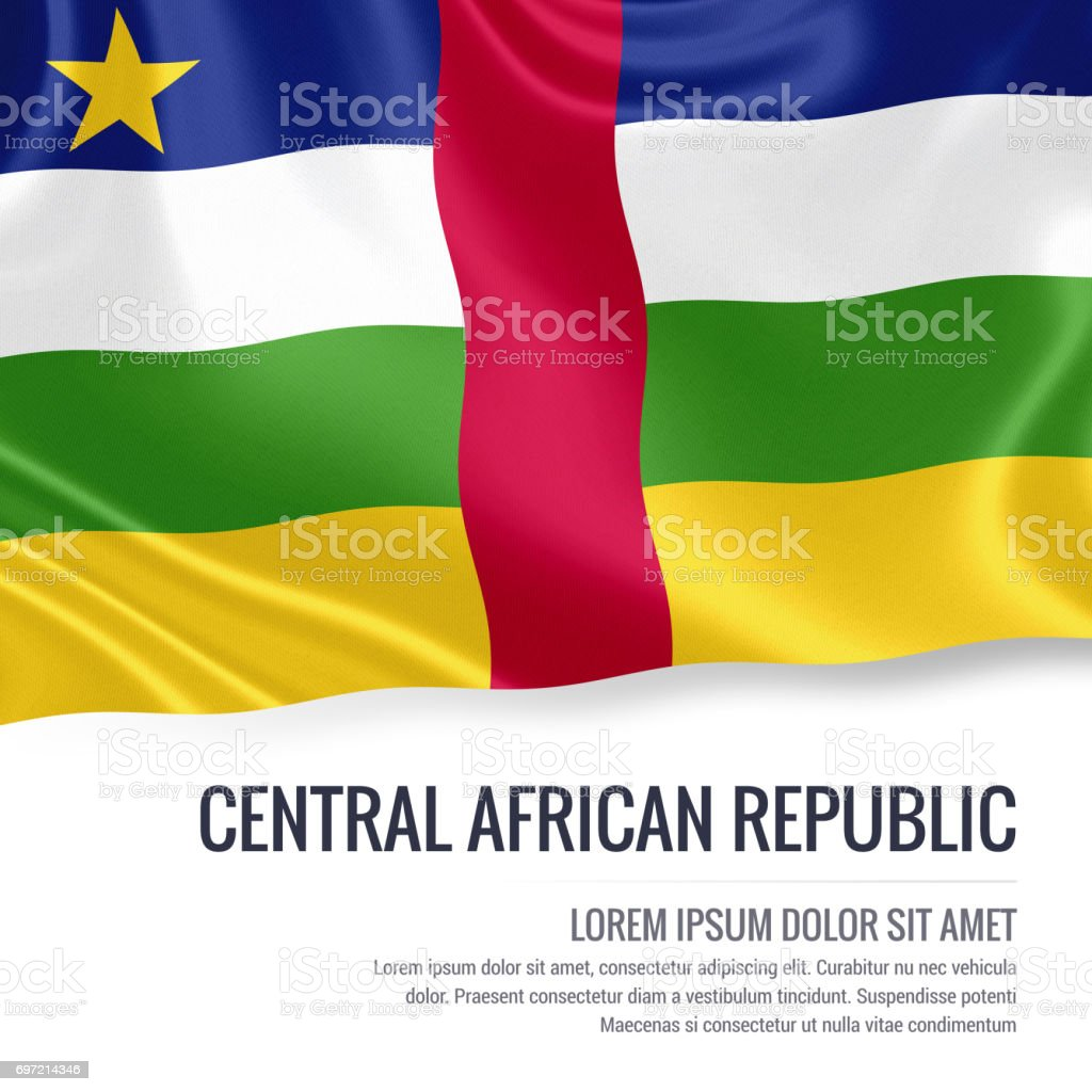 Central African Republic flag. Silky flag of Central African Republic waving on an isolated white background with the white text area for your advert message. 3D rendering. stock photo