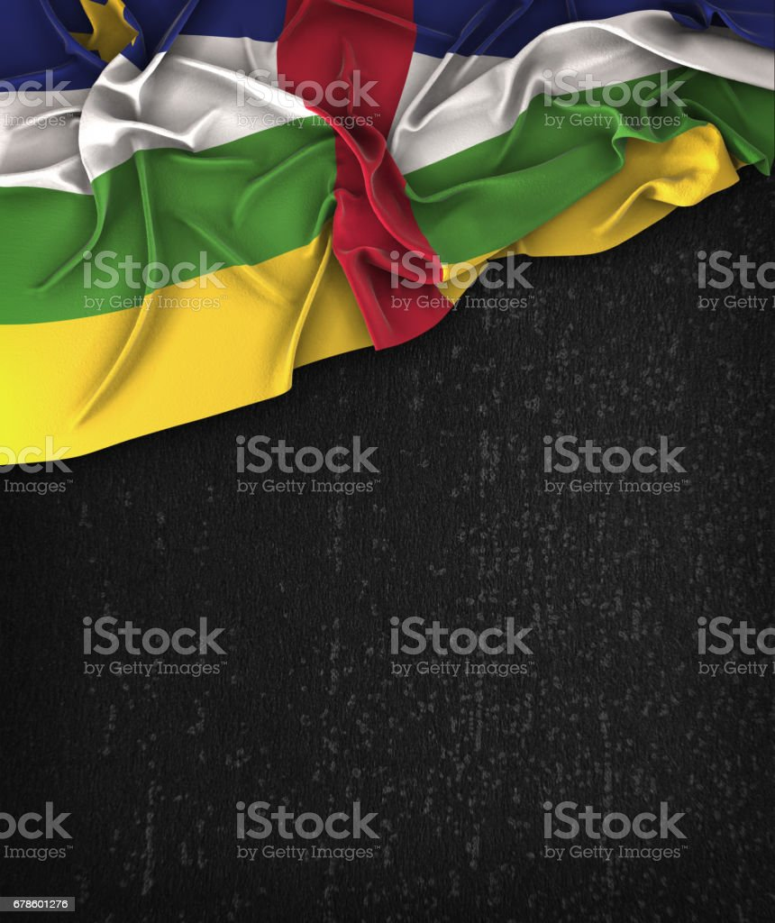 Central African Republic Flag Vintage on a Grunge Black Chalkboard With Space For Text stock photo