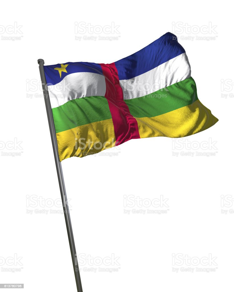 Central African Republic Flag Waving Isolated on White Background Portrait stock photo