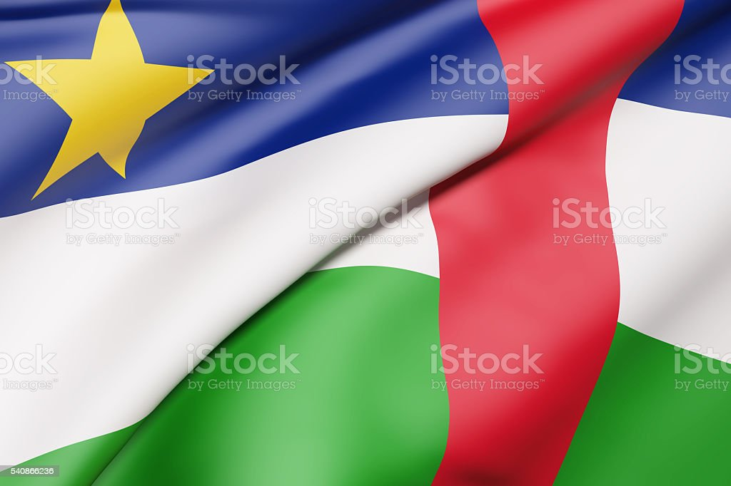 Central African Republic flag waving stock photo