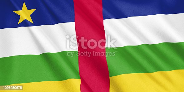 1056280906 istock photo Central African Republic flag waving with the wind, wide format, 3D illustration. 3D rendering. 1056280678