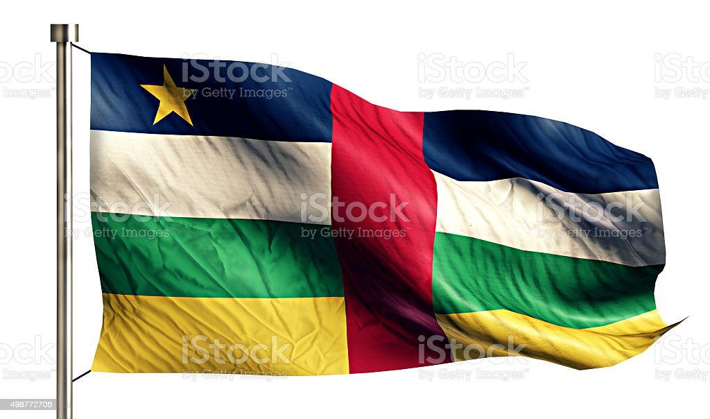 Central African Republic National Flag Isolated 3D White Background stock photo