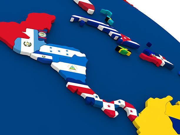 central america on globe with flags - midden amerika stockfoto's en -beelden