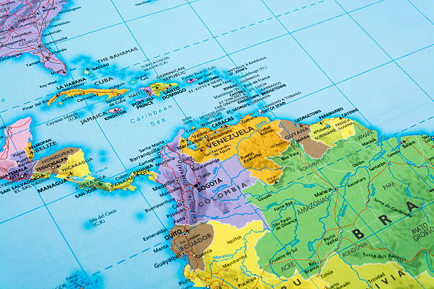 Central America Map of Central America.  Detail from THE POLITICAL MAP OF THE WORLD. latin america stock pictures, royalty-free photos & images