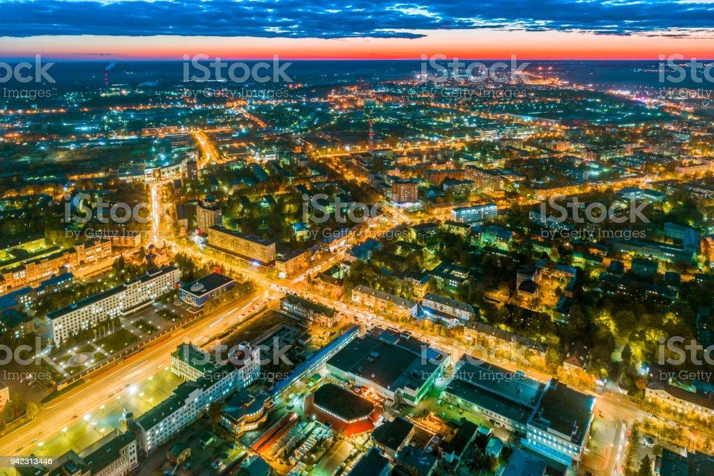 Central Area of Town Yoshkar-Ola with Night Illumination stock photo
