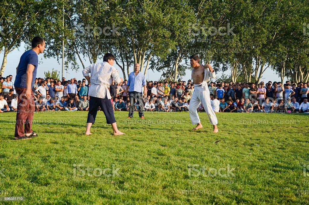 Central Asian Turkmen wrestling in Istanbul royalty-free stock photo