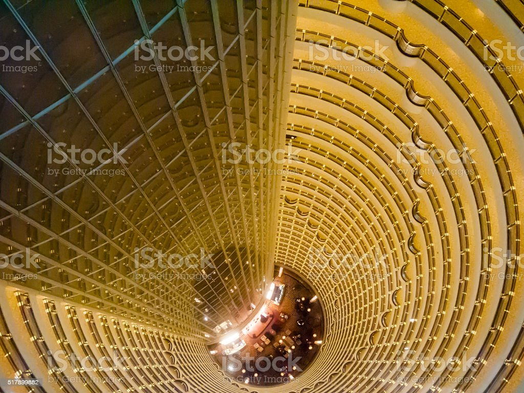 Central atrium of the Jin Mao Tower, Shanghai China stock photo