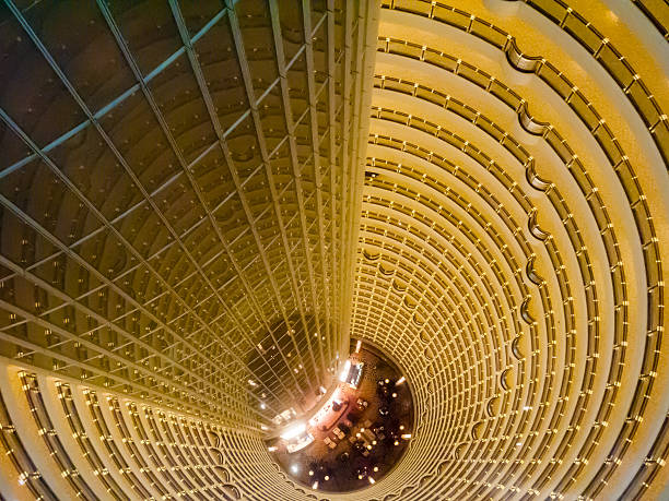 Central atrium of the Jin Mao Tower, Shanghai China Central atrium of the Jin Mao Tower, Shanghai China jin mao tower stock pictures, royalty-free photos & images