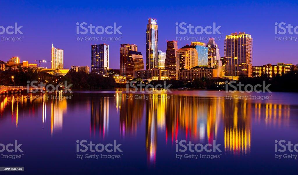 Central Austin Texas Cityscape Lady bird Lake Mirror Reflections stock photo