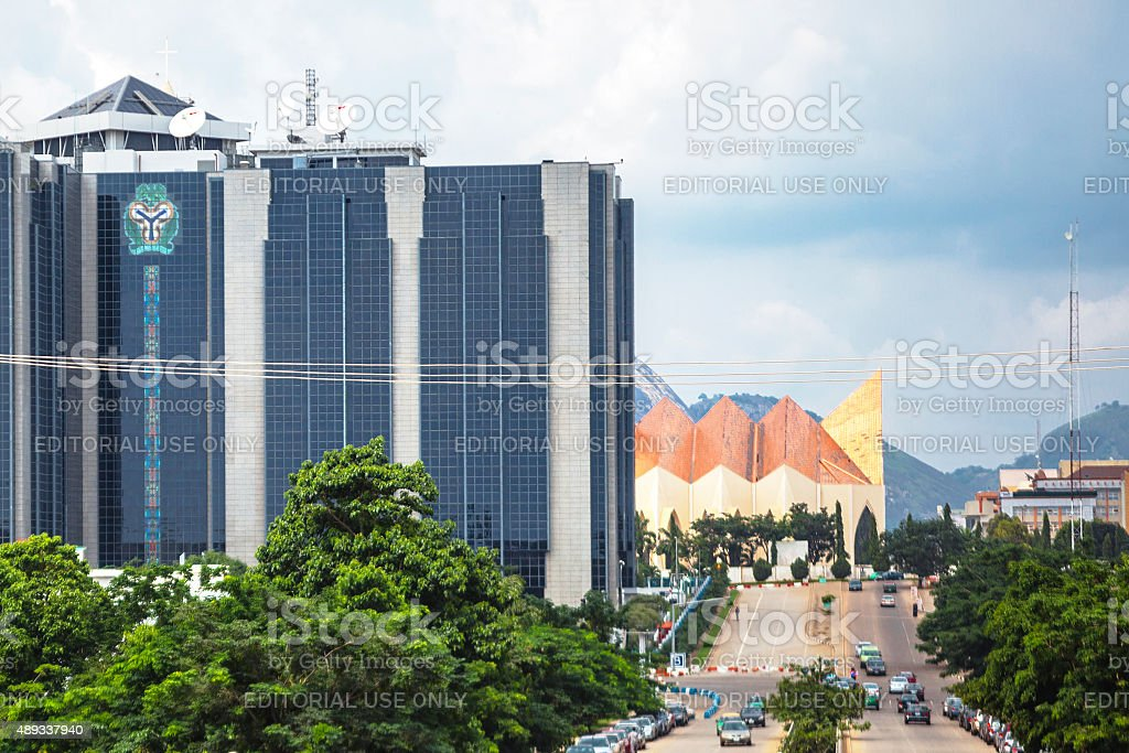 Central Bank of Nigeria headquarters in Abuja. stock photo