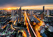 istock Central Business District, Bangkok, with morning skyscrapers, Thailand 1239317272
