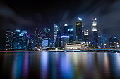 Central business district in Singapore at night