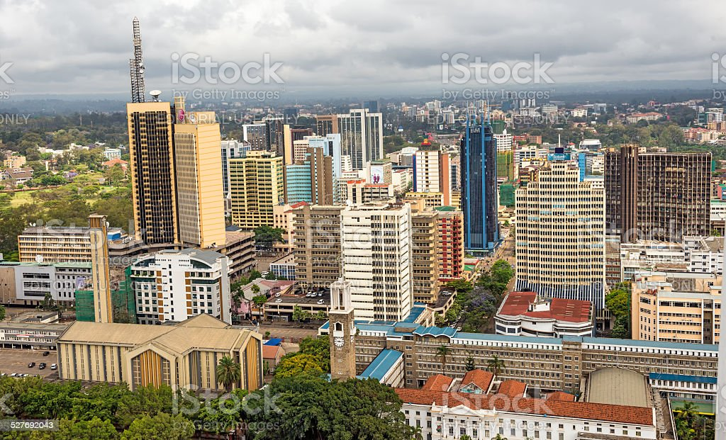 Central business district of Nairobi, Kenya. stock photo
