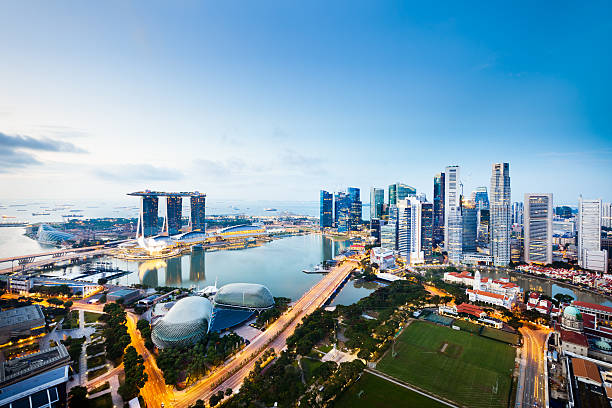 central business district, singapore city - singapore stock photos and pictures