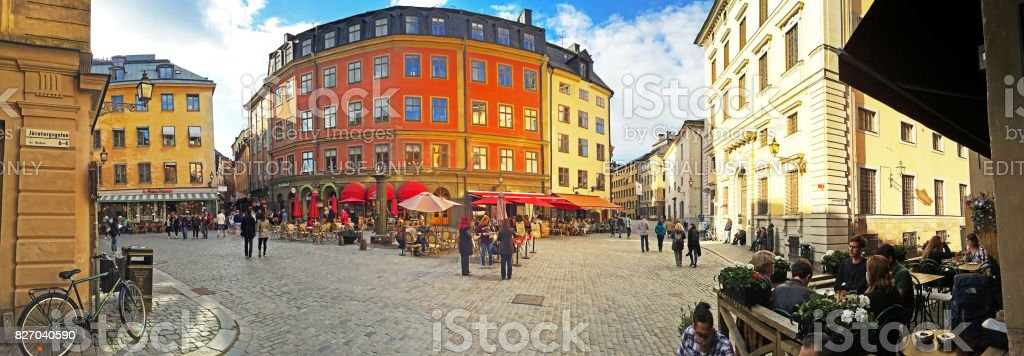 Central cafe stop panorama in Gamla Stan, Stockholm, Sweden stock photo