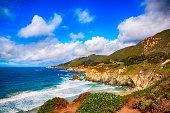 The rocky coastline of central California near Big Sur.
