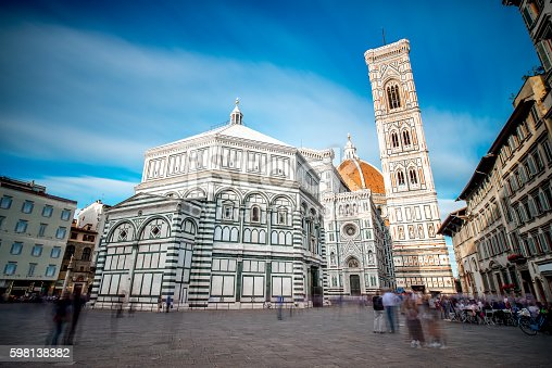 Famous Santa Maria del Fiore cathedral church with Baptistery in Florence. Long exposure image technic, view from below