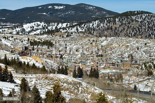 Cityscape of Central City Colorado from a nearby mountain.\