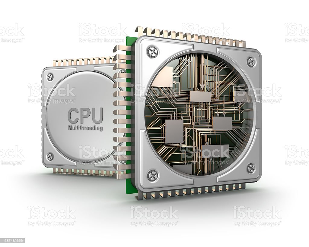 Central computer processors CPU isolated on white background stock photo