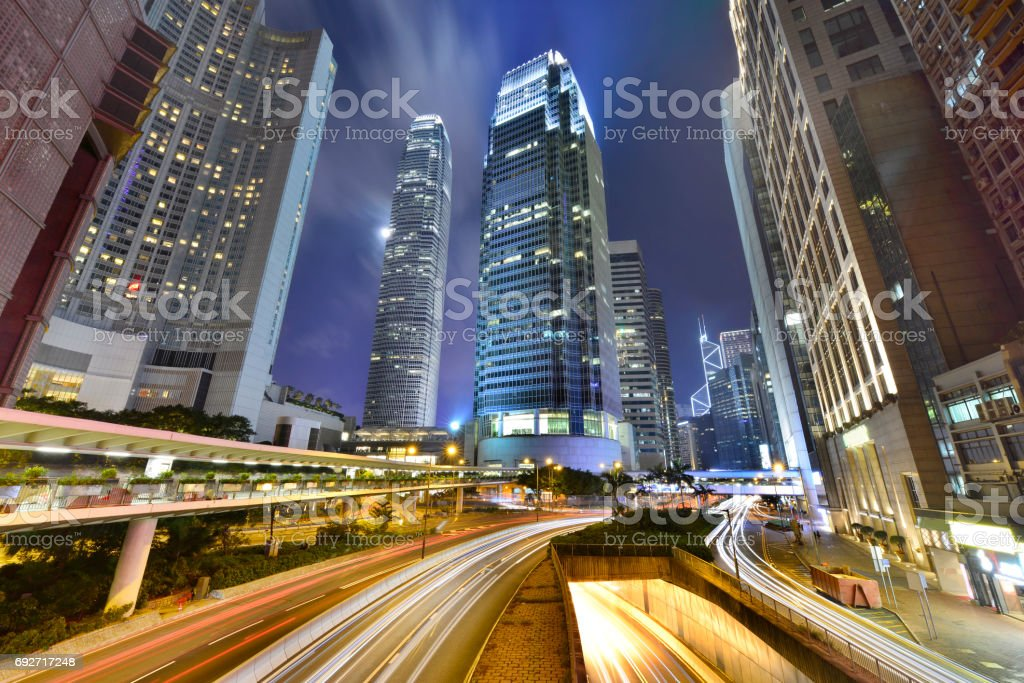 Central district in Hong Kong. stock photo
