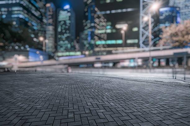 central district of Hong Kong at night stock photo
