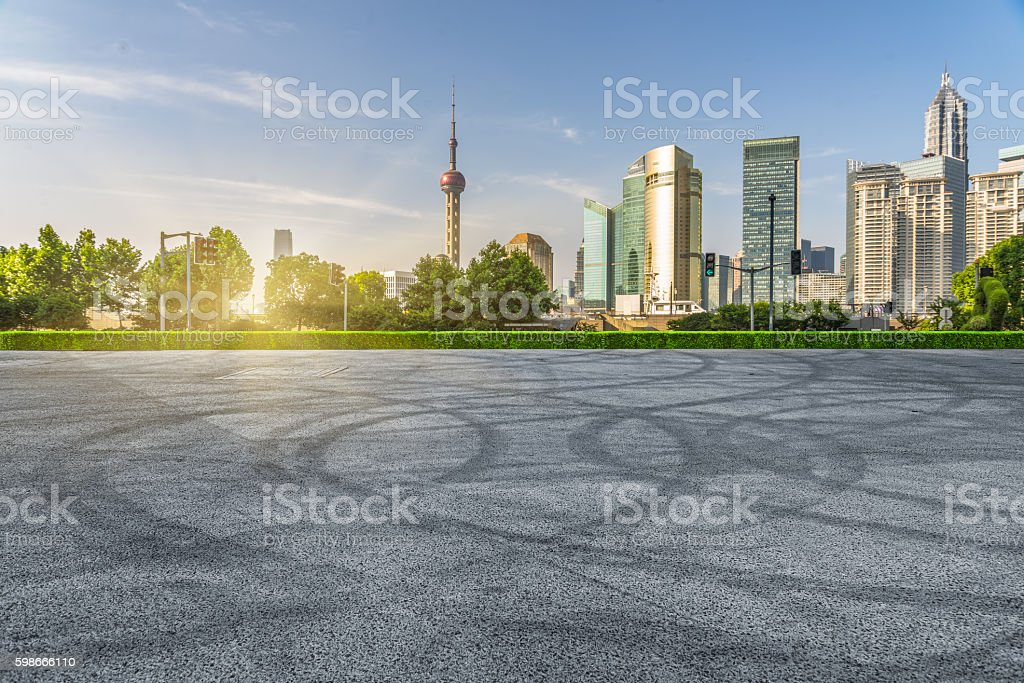 central district of shanghai at sunset stock photo